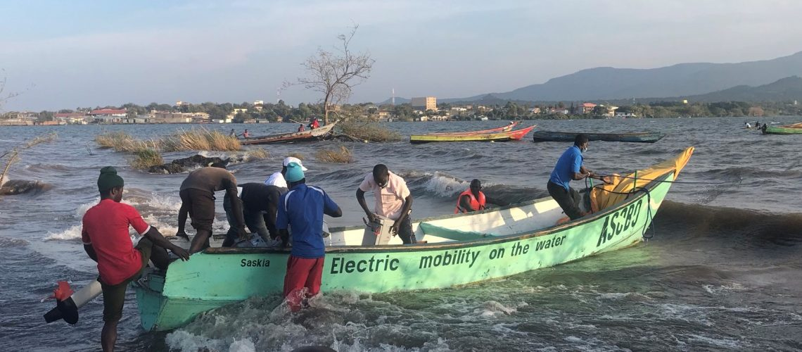 Electric water board driven boat